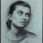 """Daydreaming Intimate Portrait of Audrienne, ©2000 Compressed Charcoal on Carta Roma Size: 30.5""""x16.75"""""""" Private Collection Jon & Kristen Barron, LA, California, USA"""