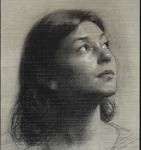 "Reverie, ©2000 Compressed Charcoal on Carta Roma Size: 30.5""x16.75"""" Private Collection Jon & Kristen Barron, LA, California, USA"