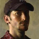 """Yankee Summer, ©2000 By Adrian Gottlieb Self Portrait from a mirror Oil on Belgian Linen, Birch Panel Size: 9"""" x 12"""" SOLD: Private Collection, Virginia"""
