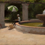 "Kate by the Fountain, ©2014 By Adrian Gottlieb Oil on Belgian Linen Size: 14""x11"".  Collection of Jamie and Gary Storm."